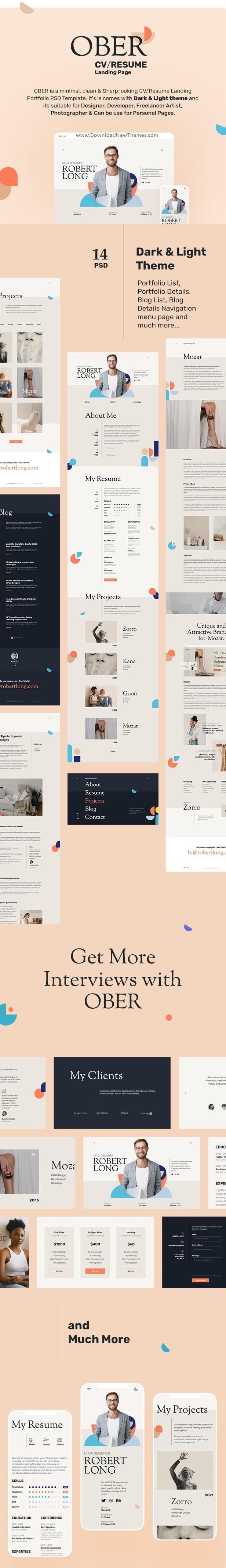 Resume CV Landing Page PSD Template