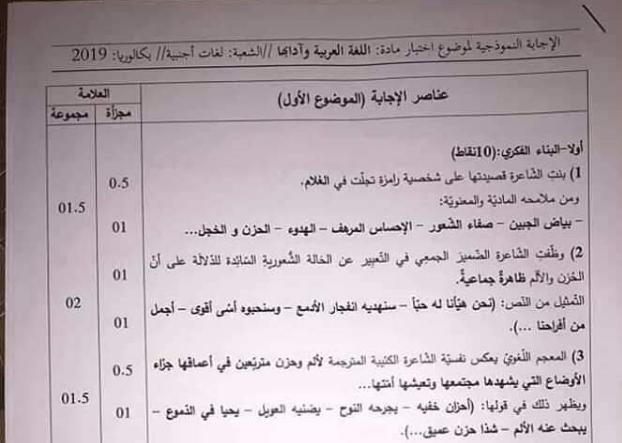 التصحيح الوزاري الرسمي لمادة اللغة العربية بكالوريا 2019 شعبة آداب وفلسفة