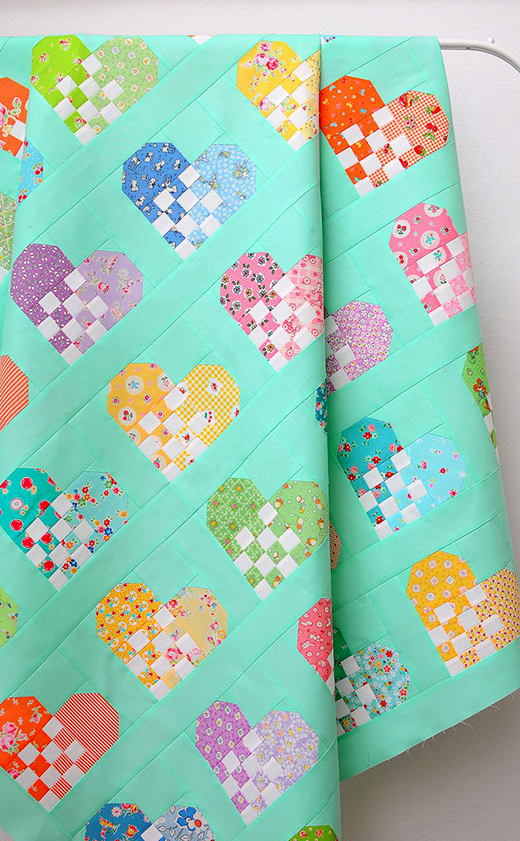 Checkered Heart Quilt Free Pattern designed by Nadra Ridgeway of Ellis and Higgs