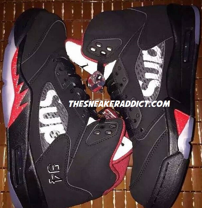 4b67d0b4f2da77 THE SNEAKER ADDICT  Supreme x Air Jordan 5 Black Red Sneaker (New Images)