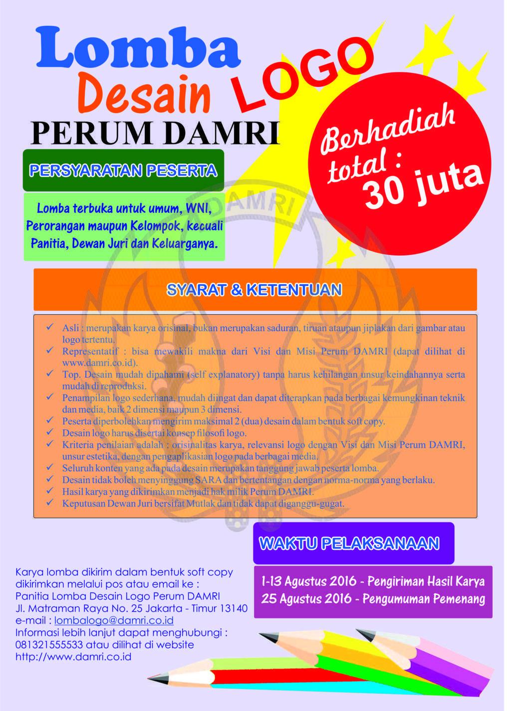 Lomba Desain Logo DAMRI Total Hadiah 30 Juta