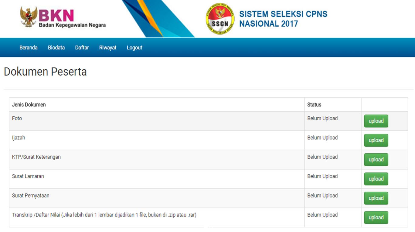 Berkas Yang Harus Disiapkan Dalam Pendaftaran CPNS Online