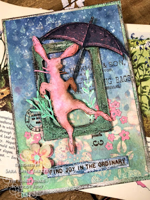 Sara Emily Barker https://sarascloset1.blogspot.com/2020/04/finding-joy-with-tim-holtz-distress.html Mixed Media Card #TimHoltz #StampersAnonymous #Ranger 1
