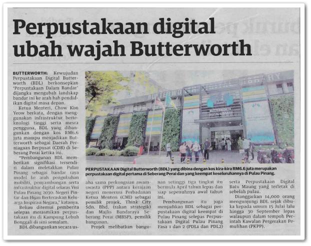 Perpustakaan digital ubah wajah Butterworth - Keratan akhbar Utusan Malaysia 19 Oktober 2020