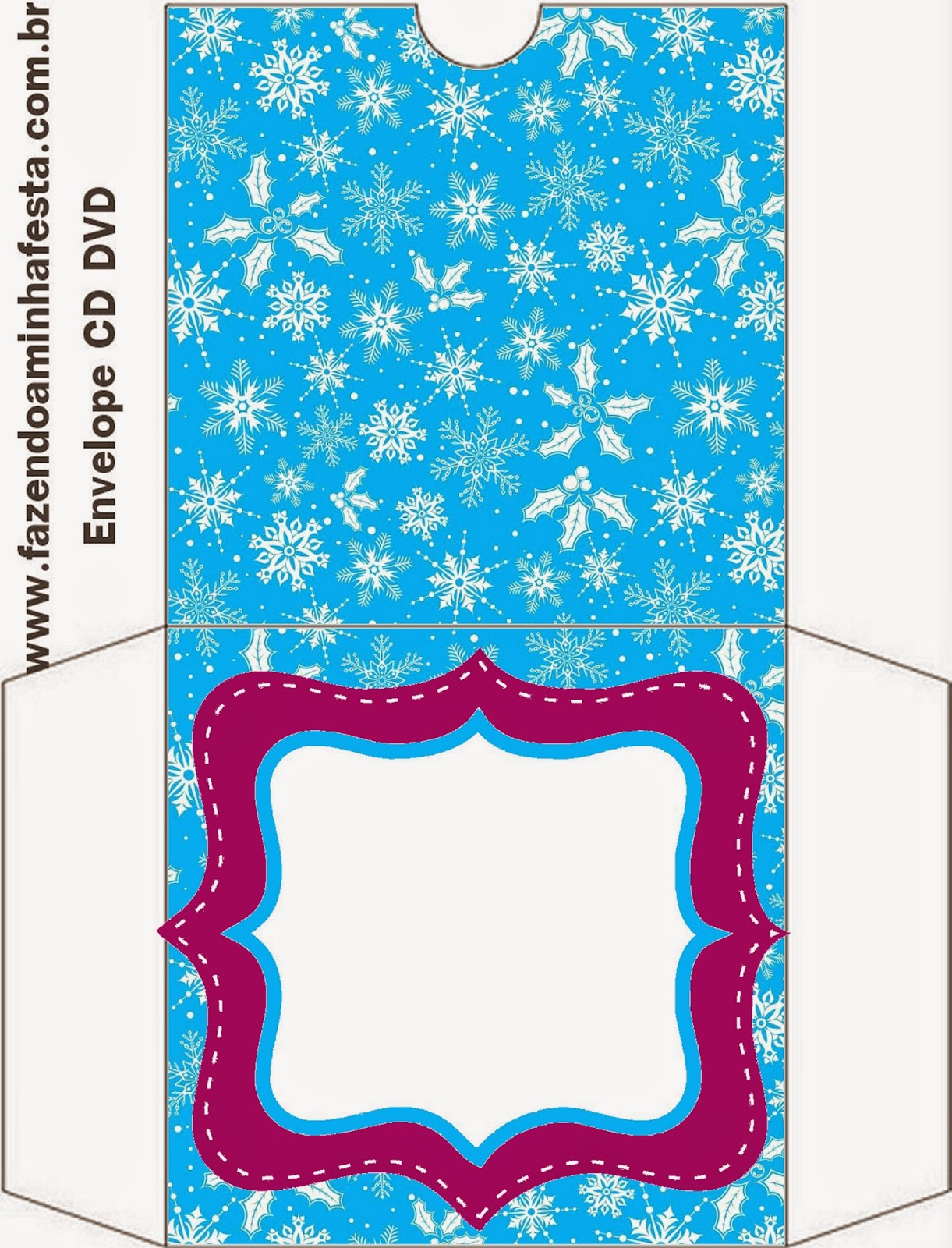Etiqueta Funda CD´s de Frozen en Morado y Celeste para Navidad para imprimir gratis.
