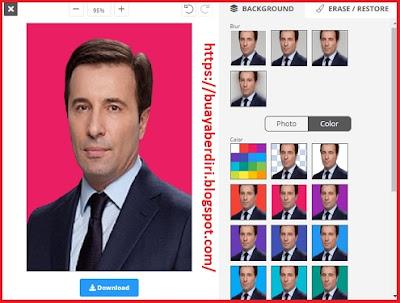 Mengubah background foto menjadi warna Merah mudah