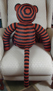 giant, tiger, toy, stripes, stuffed animal, knitting, orange, black