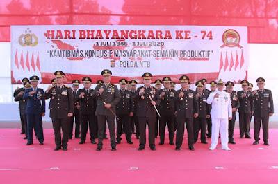 Polda NTB Ikuti Gelaran Upacara Bina Tradisi Polri Virtual di Hari Bhayangkara Ke-74