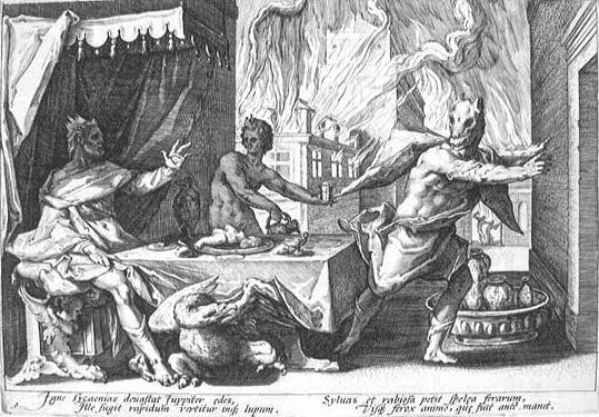 Zeus conviertiendo en lobo a Lycaon