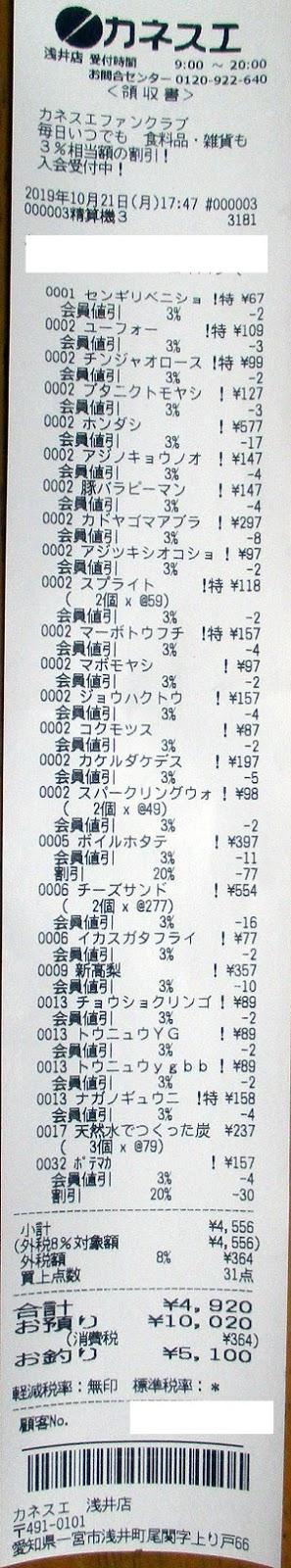 カネスエ 浅井店 2019/10/21 のレシート