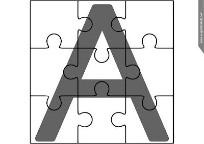 Printable ABC puzzle, upper-case alphabetic lineament missive A