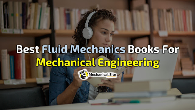A girl is reading fluid mechanics books on laptop for mechanical engineering.