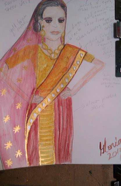 Bollywood actress sketch by Gloria Poole of Missouri