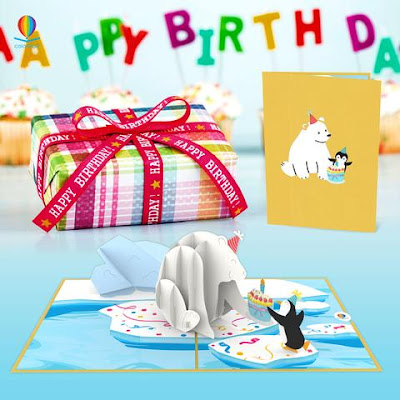 Happy birthday card - Bear and penguin pop up card