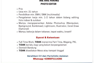 Lowongan Kerja Photo Editor Bandung Photo Studio