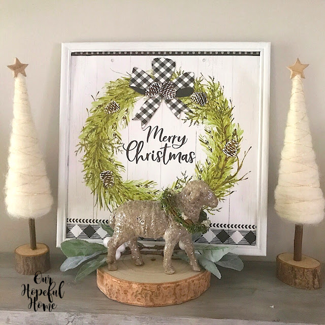 Merry Christmas gift bag frame wreath pine cone felt tree sheep