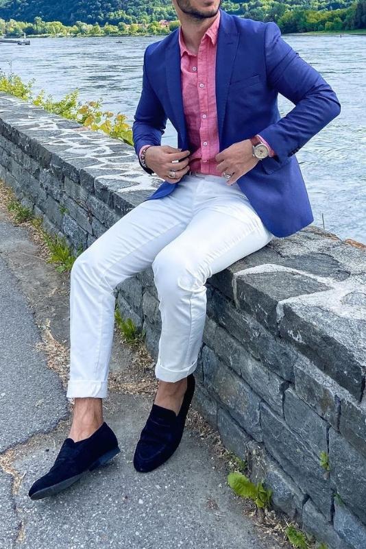 White jeans with blue blazer.