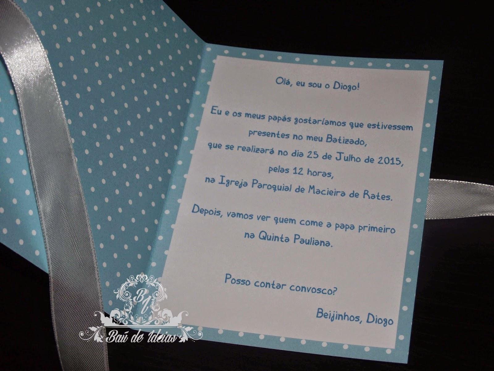 Baú De Ideias Convites De Batizado
