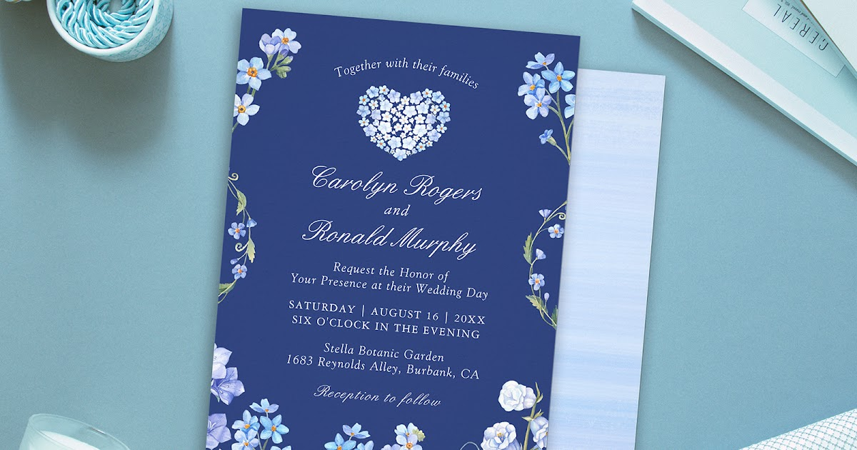 Forget Me Not Wedding Invitations: Forget-Me-Nots Blue Floral Wedding Invitation Suite