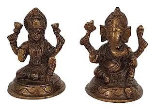 Brass Ganesh and Laxmi for Deepawali Pooja