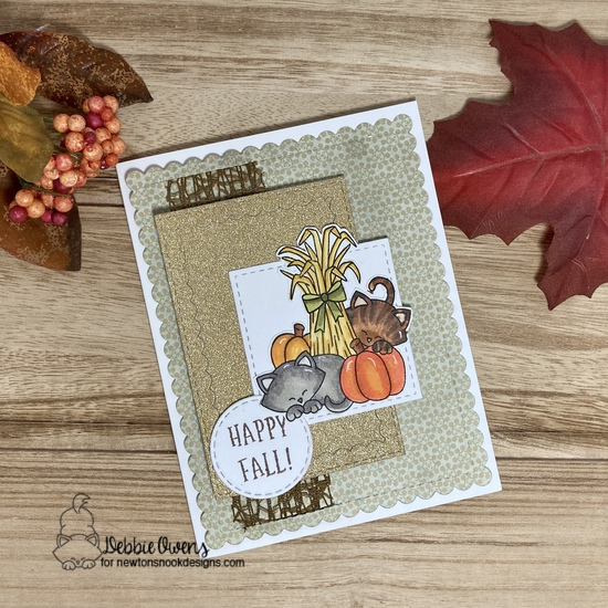 Happy fall by Debbie features Framework, Autumn Newton, Slimline Frames & Windows, and Frames Squared by Newton's Nook Designs; #inkypaws, #newtonsnook, #autumncards, #cardmaking, #catcards, #fallcards