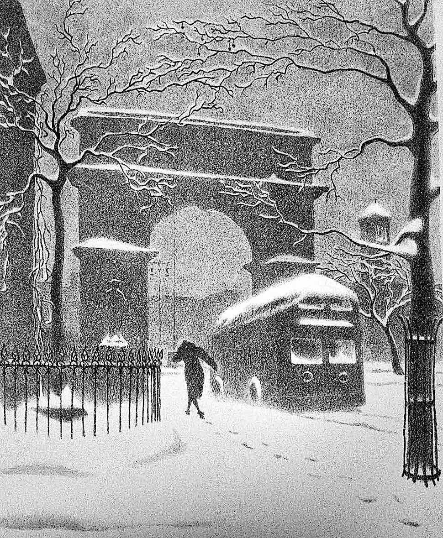 a 1940 Ellison Hoover print, a woman walking in an urban snow storm