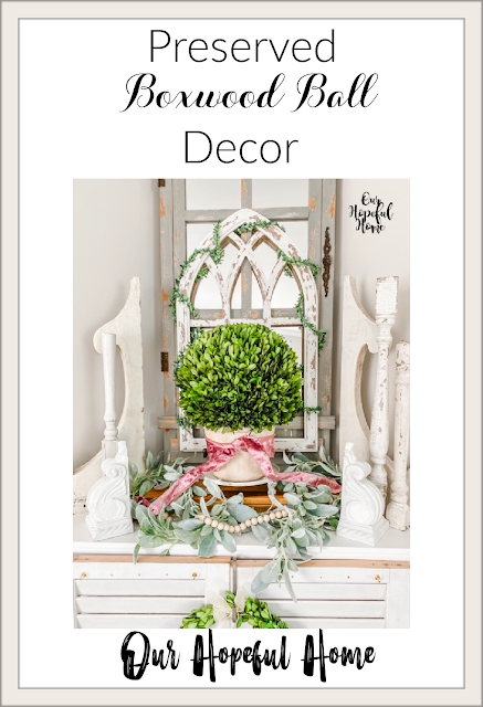 boxwood ball mantel decor