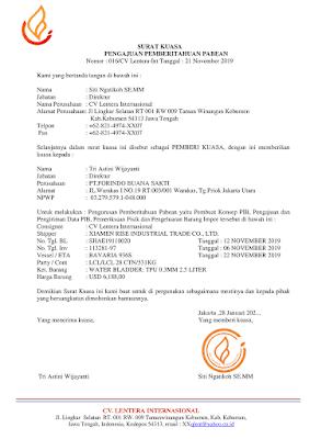 Dokumen Impor Ekspor Indonesia-Surat Kuasa Kepabeanan Impor