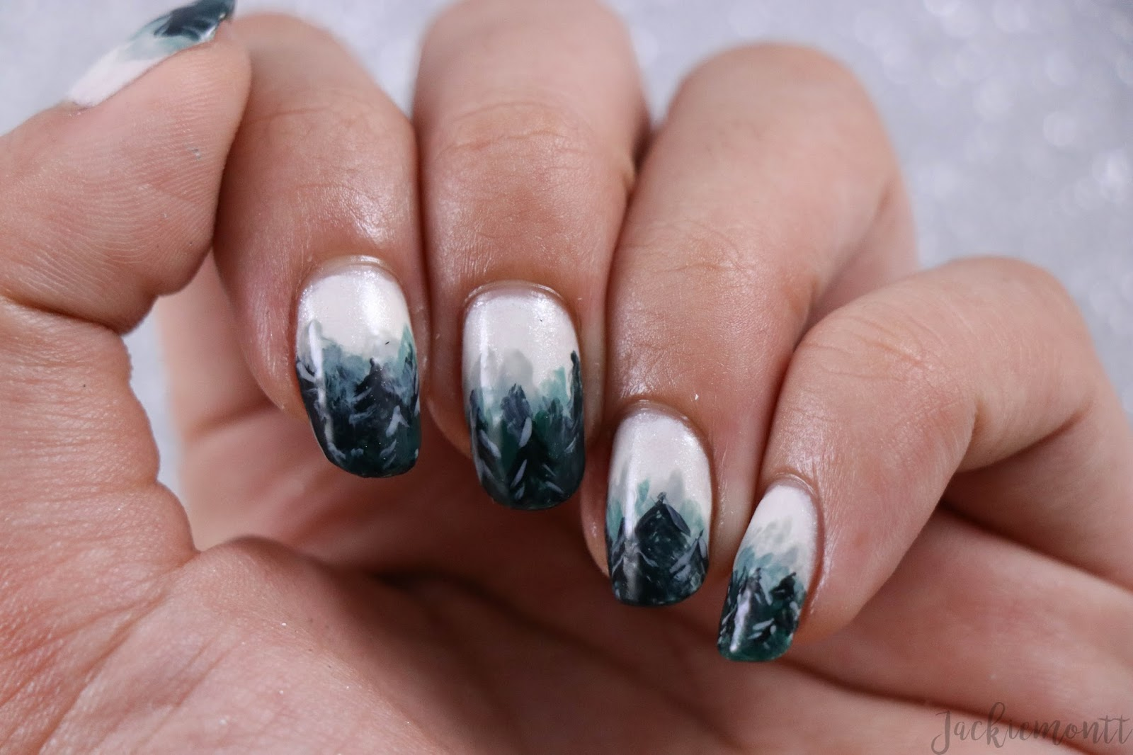 Foggy Forest Winter Ombre Nail Art Jackiemontt