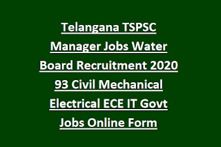 Telangana TSPSC Manager Jobs Water Board Recruitment 2020 93 Civil Mechanical Electrical ECE IT Govt Jobs Online Form
