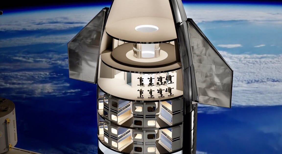 SpaceX Starship interior concept for 64 passengers | human Mars
