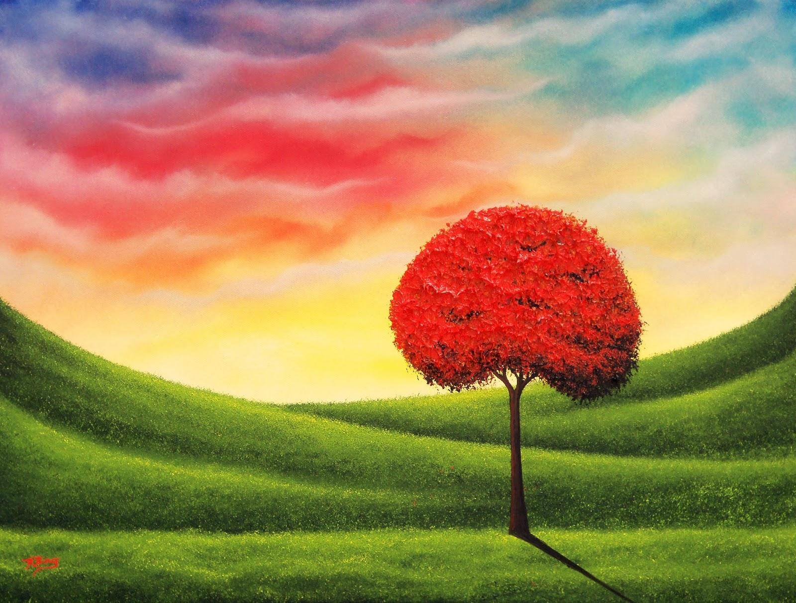 Red Tree Landscape Painting Sunset Sky Art 18 X 24 Original Oil