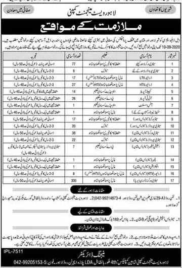 Lahore Waste Management Company jobs 2020