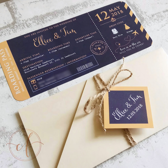 Navy and Orange Themed Boarding Pass Wedding Cards
