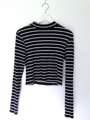 H&M black white stripy top