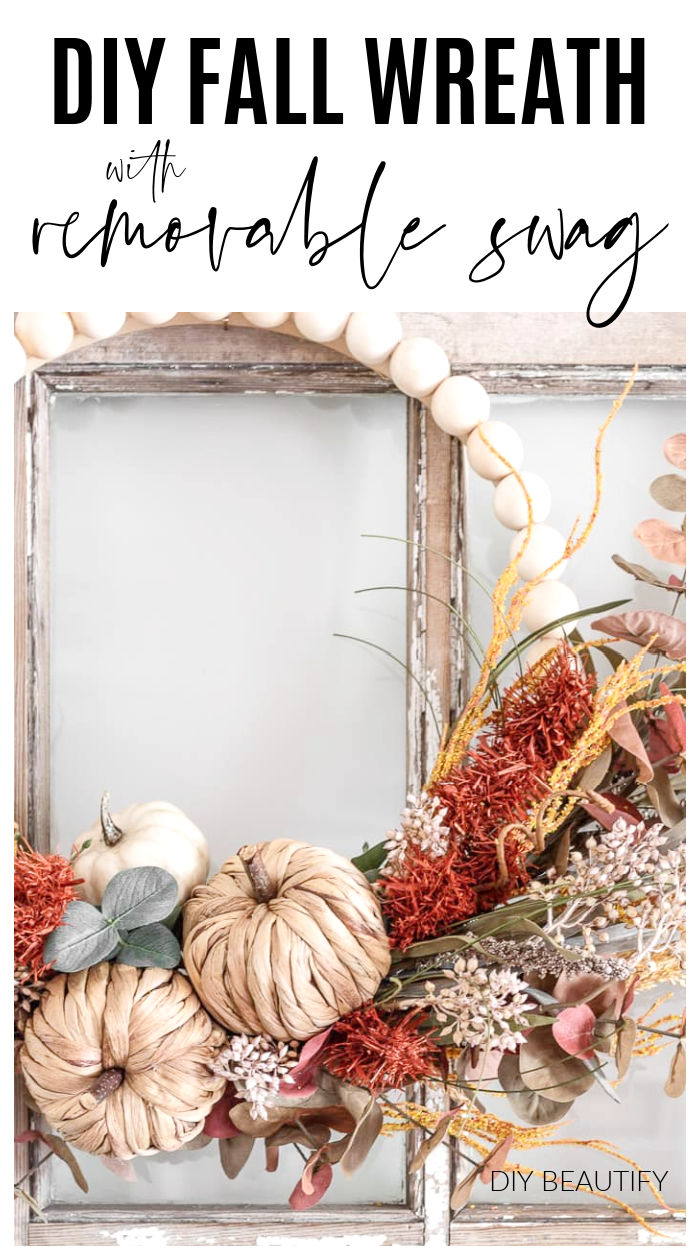 Fall wreath on beaded base with woven pumpkins and natural colored florals