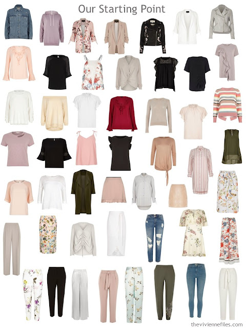 a 50-piece wardrobe including seven neutrals, lots of florals, and no system