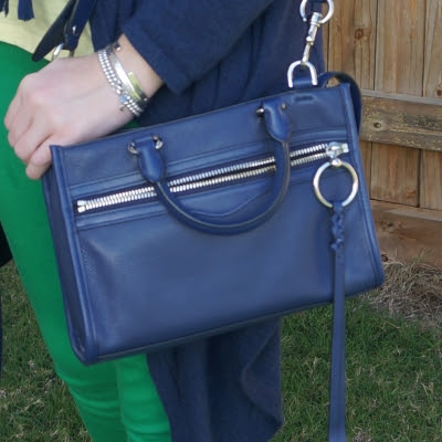 green and blue outfit with navy Rebecca Minkoff Micro Bedford zip satchel in twilight | awayfromblueRebecca Minkoff Micro Bedford zip satchel in twilight