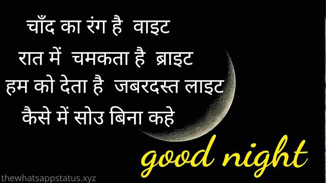 funny good night Shayari image in Hindi