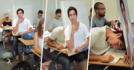 Se queda dormido en clase sin que sea descubierto