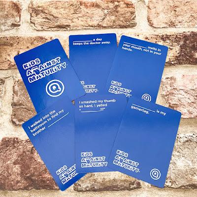 Blue question cards laid out