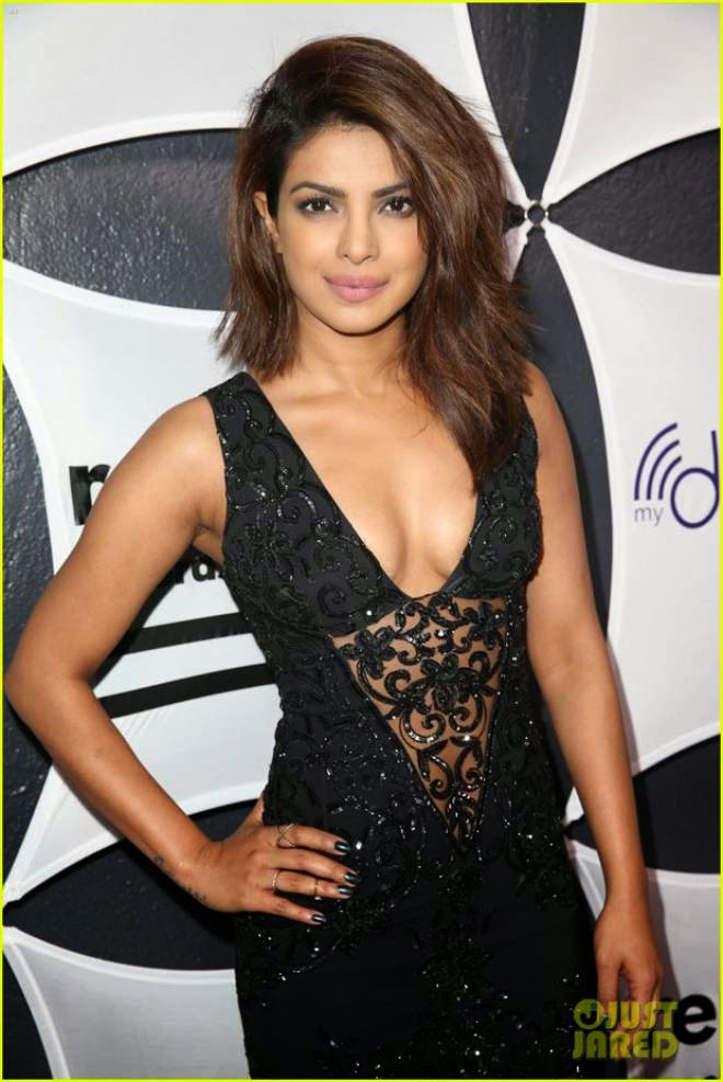 Priyanka Chopra Hot Cleavage Photos In Black Dress