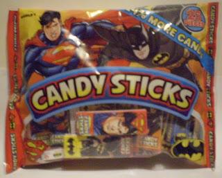 Front of Superman Batman Candy Sticks bag