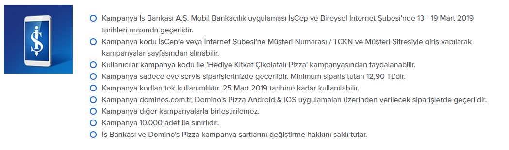dominos pizza işcep kampanya ve promosyonları