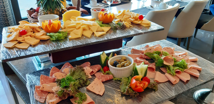 Cheeseboard and cold cuts at Misto Breakfast buffet.