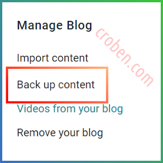 Back Up Contents In Blogger Step 2