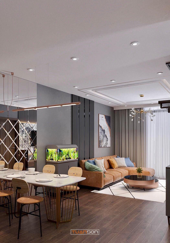 Thiết kế phòng khách mẫu 8: Phong cách hiện đại sang trọng