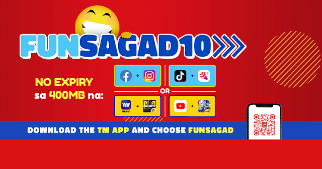 TM FUNSAGAD10 : 400MB prepaid promos with no expiry data