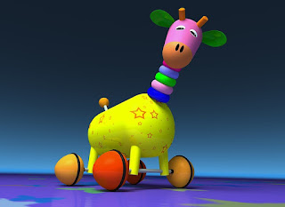 Bunte Giraffe als Kinderspielzeug