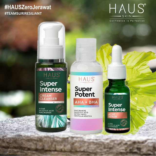 HAUS SKIN SET JERAWAT: RM174 🌺Super Intense Cream Cleanser      🌺Super Intense Acne Serum   🌺Super Potent AHA/BHA Lotion  FREE Sample Gel Brightening Blood Orange Algae Moisturizer 2g